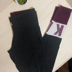 PINK Color Block Leggings Maroon